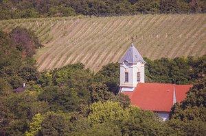 A kesztölci és a csévi templom a Plesináról