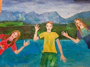 A kesztölci gyermek festőtábor alkotásaiból nyílt kiállítás a Művelődési házban