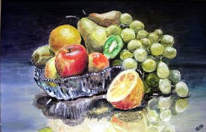 Gyümölcsös csendélet (35x50, olaj)