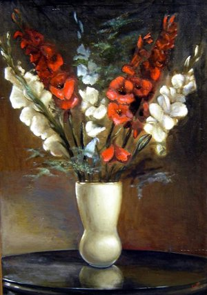 Kardvirágok (a festő első olaj csendélete 1968-ból, 70x100)