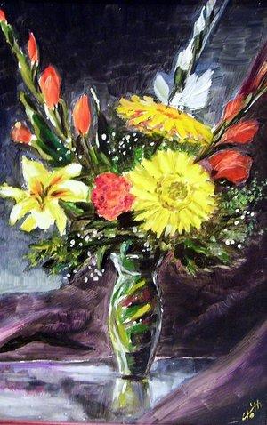 Virág csendélet (25x35 olaj)