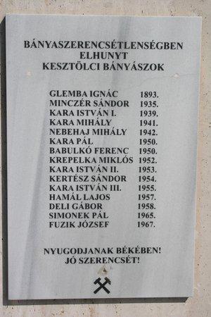 Kesztölc hősi halott bányászai